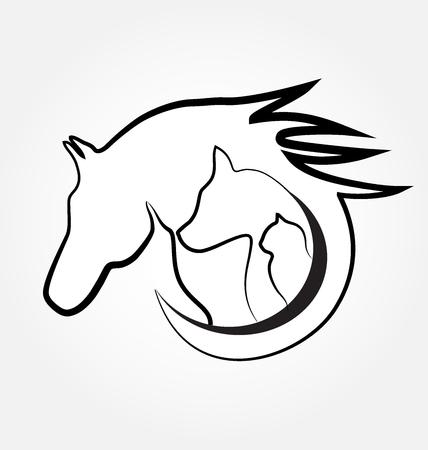 silueta de gato: gato caballo y perro tarjeta de identidad logotipo estilizado diseño de negocio