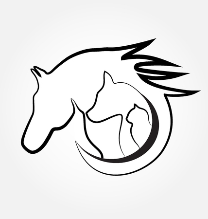 Horse cat and dog identity card business stylized design logo Stock Illustratie