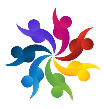 ビジネス、従業員、コミュニティ、連合、目標、連帯、パートナー、子供 - ベクター グラフィックの概念。このロゴのテンプレートはまた、円、従業員会議労働者の連合で一緒に手をつないで遊んでいるカラフルな子供を表します ベクターイラストレーション