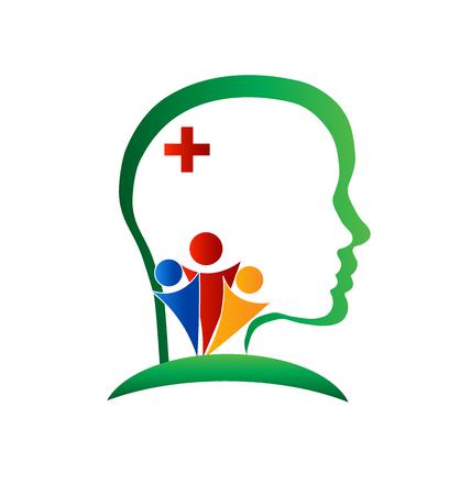 cerebro de bienestar vector logo