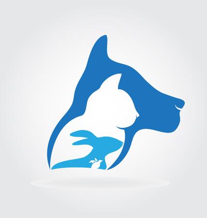 lapin silhouette: Cat lapin chien et oiseau conception logo vectoriel Illustration