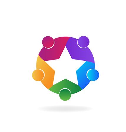 personalausweis: Stern Teamarbeit lebendige colors.Education Teamarbeiter-Logo-Design