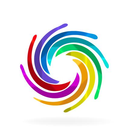 Rainbow swirly waves vivid colors vector design
