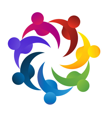Concept of business,employees,community, union, goals,solidarity , partners,children - vector graphic. This logo template also represents colorful kids playing together holding hands in circles, union of workers, employees meeting Vettoriali