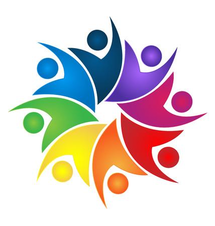 El trabajo en equipo swooshes diseño logotipo de la gente de negocios Foto de archivo - 53035773