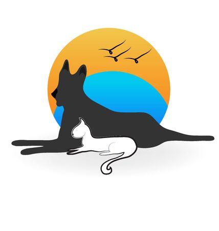 Kat hond en vogels silhouetten. Veterinaire pictogram achtergrond logo vector Stockfoto