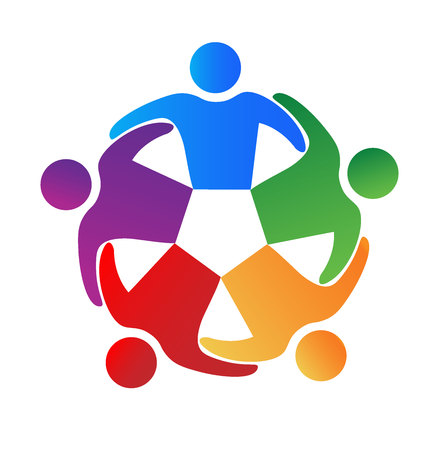 non stock: Business team hug people . Can represent teamwork, partners,family,workers,groups,kids,union,success, event,party logo icon template