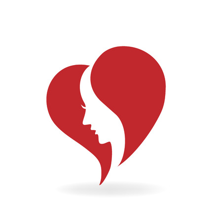 massage symbol: Heart love woman face icon vector image