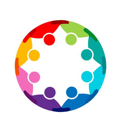 ビジネス チーム抱擁人。チームワーク、パートナー、家族、労働者、グループ、子供、連合、成功、イベント、パーティのロゴ アイコン テンプレ 写真素材