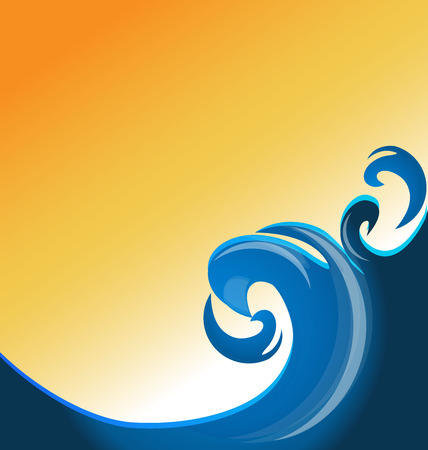 blue wave: Blue swirly waves sunny day background template image