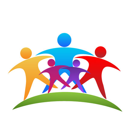 embraced: People hugging. Successful and optimistic teamwork icon logo vector image Illustration