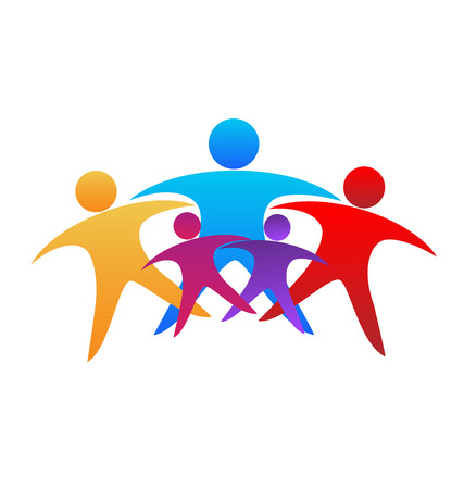 People hugging. Successful and optimistic teamwork icon logo vector image Çizim
