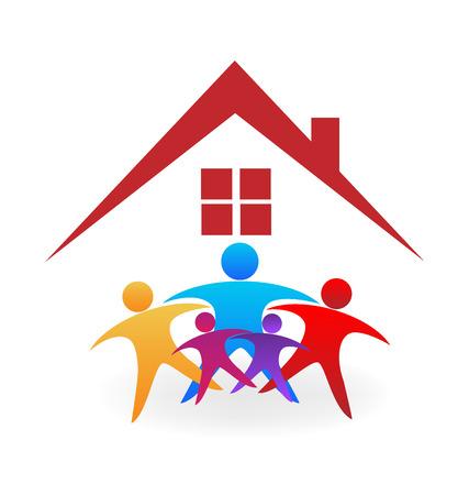 Casa con gente optimista. imagen del icono vector de la insignia del trabajo en equipo de negocios exitoso