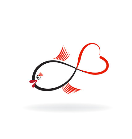 love image: Fish of love logo vector image Illustration