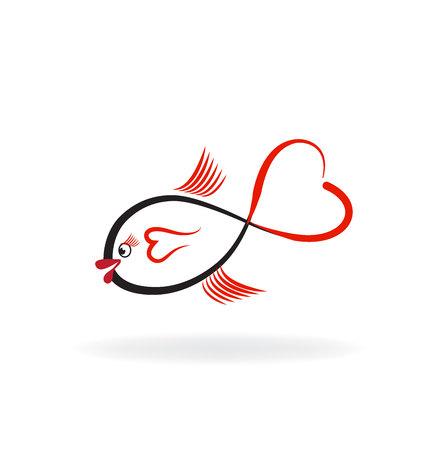 goldfish jump: Fish heart shape logo vector image Illustration