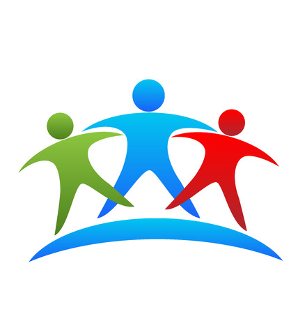 embraced: Friendship successful and optimistic teamwork icon logo vector image Illustration