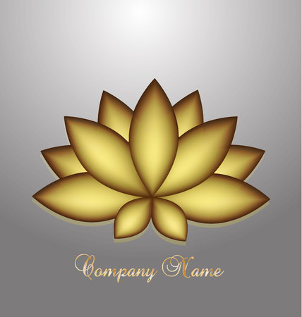 chinesse: Gold Lotus company business card logo vector design
