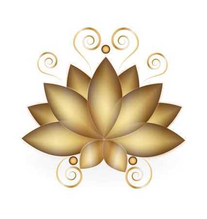 salon background: Gold Lotus company business card logo vector design