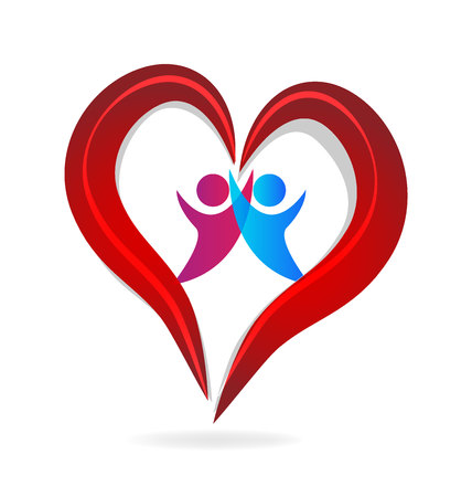 health and fitness: Couple heart love valentine day symbol logo vector template Illustration