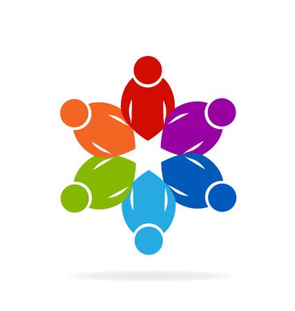 personas reunidas: Concepto del trabajo de las personas de unidad de imagen de iconos Vector de la insignia educativa Vectores