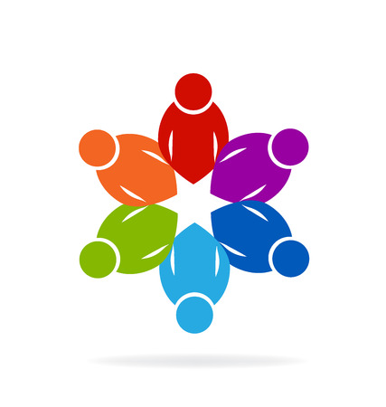 working together: Teamwork concept of unity people icon educational logo vector image Illustration