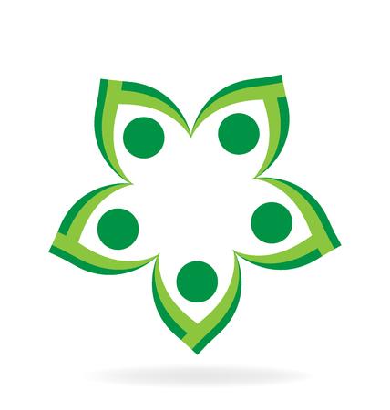 silhouette fleur: écologie travail d'équipe de conception identité des gens de carte de visite vert