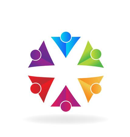 embraced: Vivid colors teamwork people logo