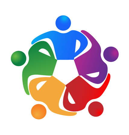 embraced: Business team hug people . Can represent teamwork, partners,family,workers,groups,kids,union,success, event,party icon logo template Illustration