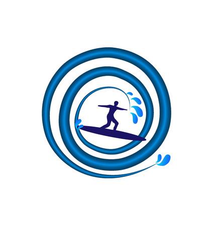 logo vector: Surfing man swirl wave vector logo template