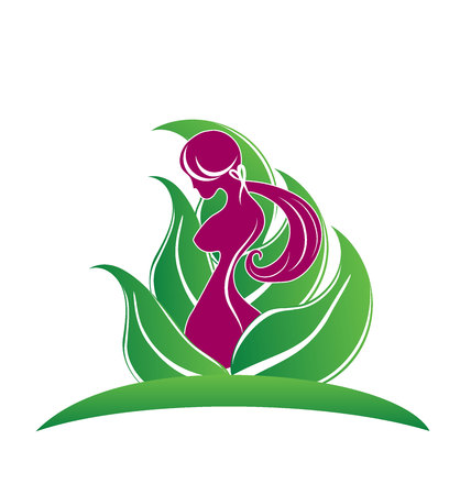 Beauty body girl with leafs symbol icon vector image logo template