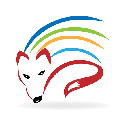 Fox colorful vector image logo design Illustration