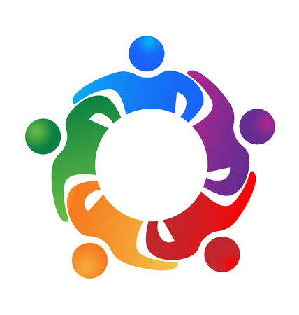 Business team hug people . Can represent teamwork, partners,family,workers,groups,kids,union,success, event,party icon logo template Stock Illustratie