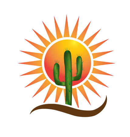 arizona sunset: Desert and sun icon symbol icon design