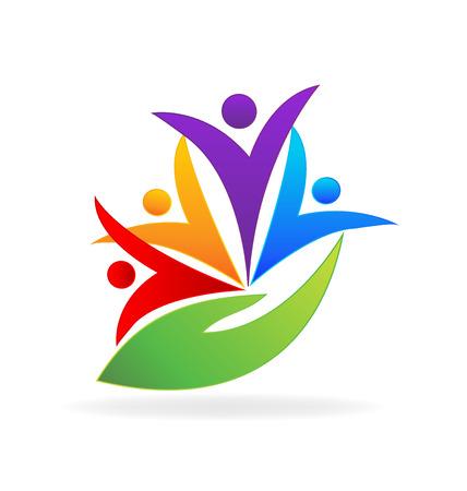zdrowie: Ludzi obchodzi. Koncepcja medycznych partnerów biznesowych przyjaźni Unia zespołowej ikona projektowania