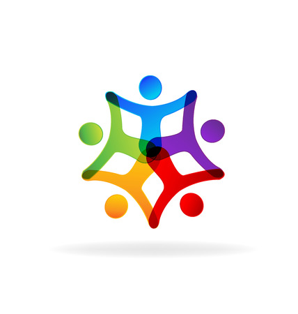 child holding sign: People holding hands. Concept of business partners friendship union teamwork design