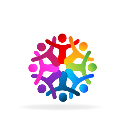 employee stock option: People holding hands. Concept of business partners friendship union teamwork icon design Illustration