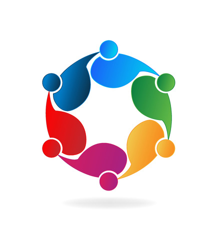 together voluntary: People hugging . Concept of business partners friendship union teamwork icon design