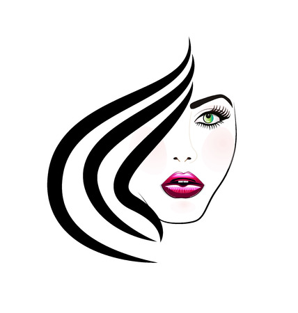 Face of pretty woman silhouette icon image Vectores