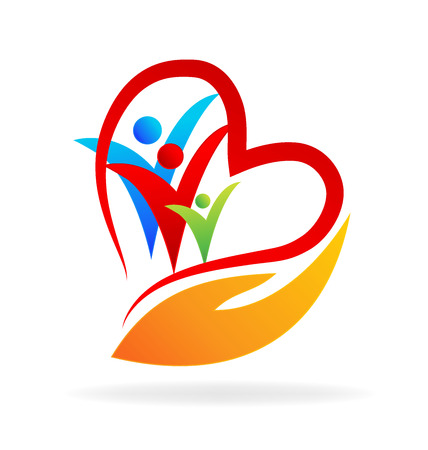 People care with love. Concept of medical business partners friendship union teamwork icon design