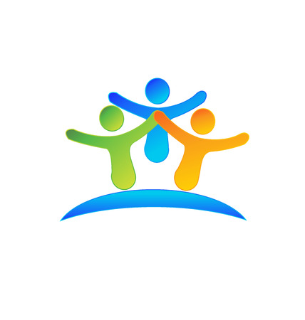 child holding sign: Happy people Concept of business partners friendship union icon design