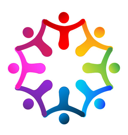 together voluntary: Teamwork holding hands. Concept of business partners friendship union icon design Illustration