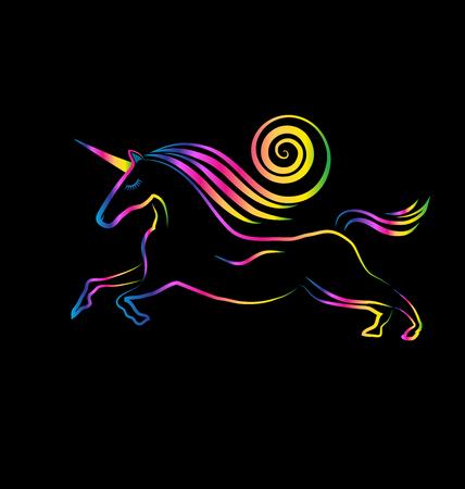 Unicornio tatuaje pelo remolino de dibujo vectorial Ilustración de vector