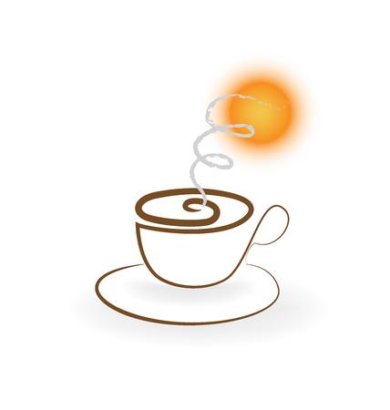 Coffee and sun vector