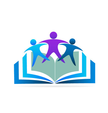 Book and friends education logo Stock Illustratie