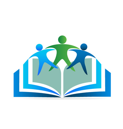 Book and friends education logo Illustration