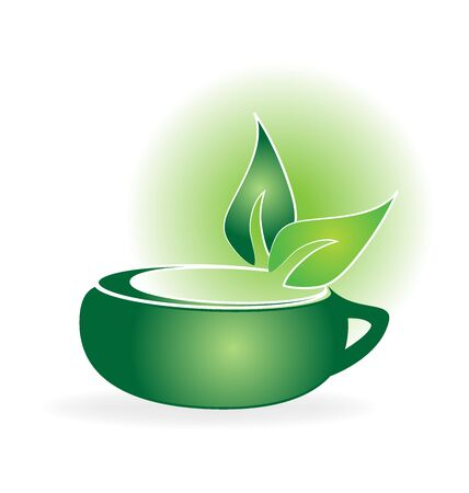 Fresh tea and green leaves Illustration