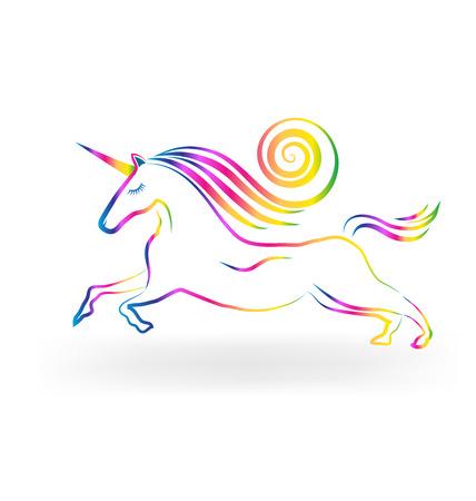 ユニコーンのタトゥー虹色ベクトルのアイコン