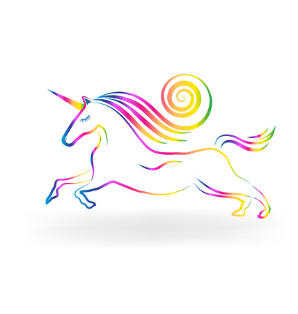 Unicorn tattoo rainbow color vector icon Imagens - 55848429