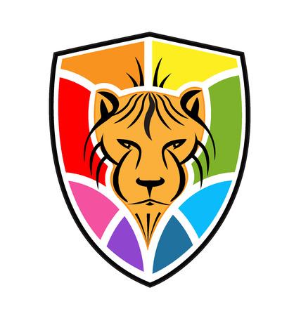 logo vector: Lion and shield logo vector Illustration