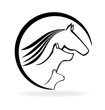 Chat cheval et le chien (carte de visite vétérinaire) Banque d'images - 55848432